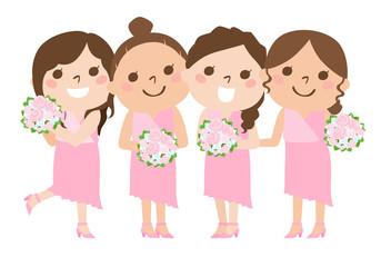 花嫁を笑顔で祝う友人のブライズメイドたちのイラスト.