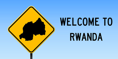 Rwanda map on road sign. Wide poster with Rwanda country map on yellow rhomb road sign. Vector illustration.