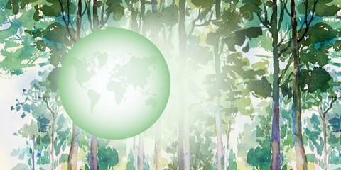 Environmental concept. green world. Watercolor painting