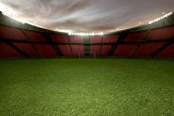 Stadium football with green grass and empty tribune