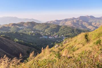 high angle viewpoint over tropical rainforest mountains at Ban I-Tong, Pilok, Thong Pha Phum. Kanchanaburi, Thailand border between thai -  myanmar.