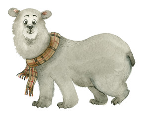 White bear in scarf