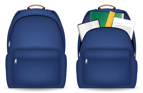 close and open student bag with study object