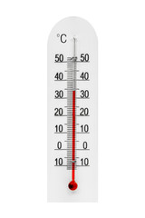 Plastic meteorology thermometer isolated on white background. Air temperature plus 34 degrees celsius