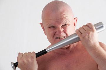 bald, angry eldery criminal with a baseball bat