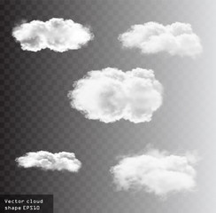 Clouds vector set, cloud shapes illustration
