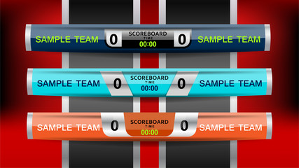 Vector Illustration Graphic of Scoreboard Broadcast and Lower Thirds Template for sport soccer and football