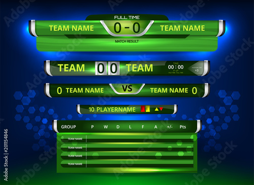 Vector Illustration Graphic Of Scoreboard Broadcast And Lower Thirds Template For Sport Soccer Football