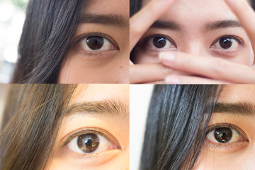 Close up image of female brown eye,beautiful eye of female Asia