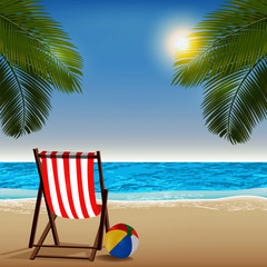 Vacation summer beach background. Red Beach Chair with palm trees and blue sea. Vector illustration.