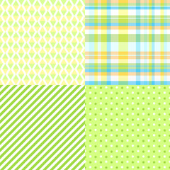 Set of seamless multicolored patterns. Checkered background. Abstract geometric wallpaper of the surface. Dotted texture. Print for polygraphy, posters, t-shirts and textiles. Doodle for design