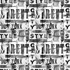 Seamless colorful pattern in urban style. Black and white background.