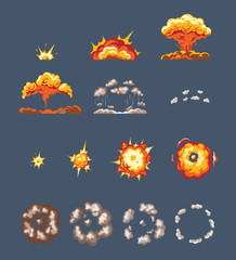 Animation scenes, effect smoke, explosion, fire clouds, broken into elements.
