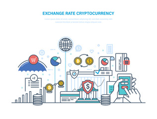 Exchange rate cryptocurrency. Financial operations with electronic money, turnover bitcoin.