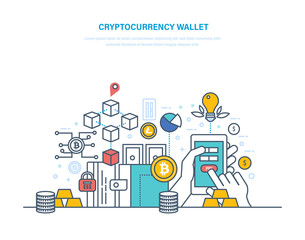 Cryptocurrency wallet. Financial operations with electronic money, turnover bitcoin, finance.