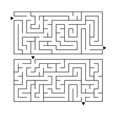 A set of two rectangular labyrinths. Simple flat vector illustration isolated on white background. Developmental game for children.