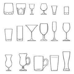 Vector Set Sketch Stemware. Glasses for Alcohol, Cocktail and Soft Drink