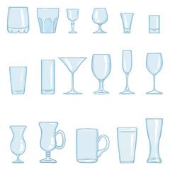 Vector Set of Cartoon Stemware. Glasses for Alcohol and Soft Drink