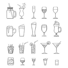 Vector Sketch Set of Alcohol, Soft Drinks and Cocktails.