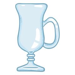 Vector Cartoon Illustration - Empty Irish Coffee Glass