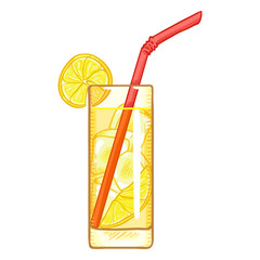 Vector Cartoon Illustration - Glass of Lemonade