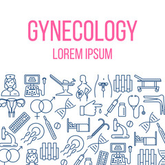 Gynecology poster with flat icons