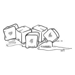 Vector Sketch Illustration - Ice Cubes Melting
