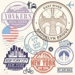 Retro postage USA airport stamps set