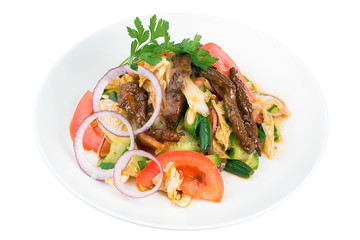 Spicy Asian salad with vegetables and grilled meat