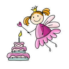 Cute little fairy with cake, sketch for your design