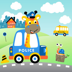 funny police patrol, giraffe with little snail, city traffic, vector cartoon illustration