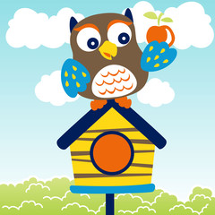 cute owl with a fruit on the cage, vector cartoon illustration