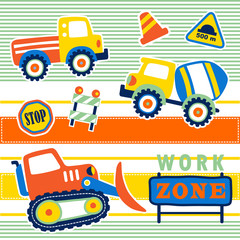 Construction vehicles with construction signs on colorful striped, vector cartoon illustration