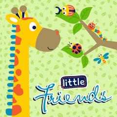 Funny giraffe and little friends, vector cartoon illustration