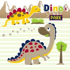 dinosaurs park, vector cartoon illustration