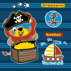 lion the pirate on striped background, vector cartoon illustration