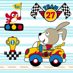 Bunny the car racer with trophy on striped background, vector cartoon illustration
