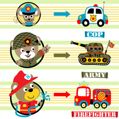 animals cartoon profession with vehicles, vector cartoon illustration