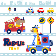 animals rescue team in the city with vehicles, vector cartoon illustration