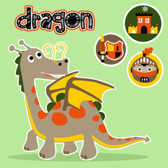 dragon with kingdom element icon, vector cartoon illustration