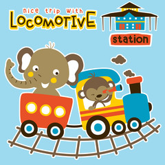 Animals cartoon vacation with train, vector cartoon illustration