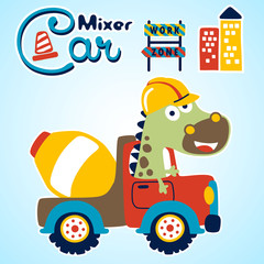 big animal on mixer truck, vector cartoon illustration