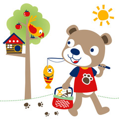 Cute animal going home from fishing, fishing time with little bear, vector cartoon illustration