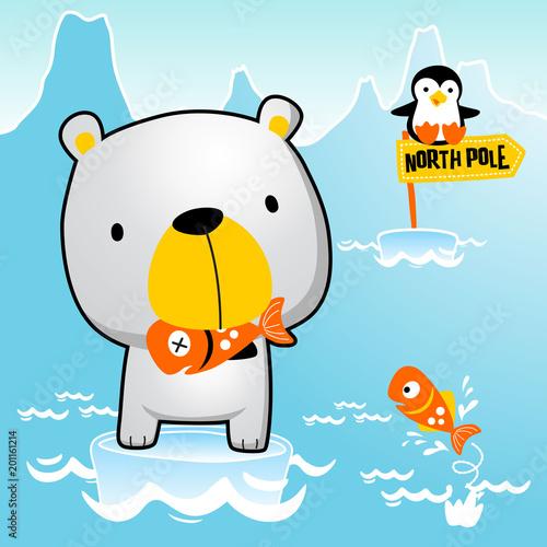 Polar Bear With Little Penguin Catch Fish North Pole Life Vector