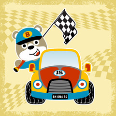 Animal racer on race car, vector cartoon illustration