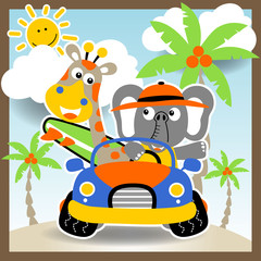 vacation with giraffe and elephant,  vector cartoon illustration