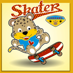 Cute Animal skater, vector cartoon illustration