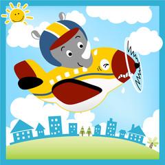 Funny plane cartoon with heavy pilot, vector cartoon illustration