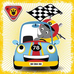 Car racer cartoon with little rhino, vector cartoon illustration
