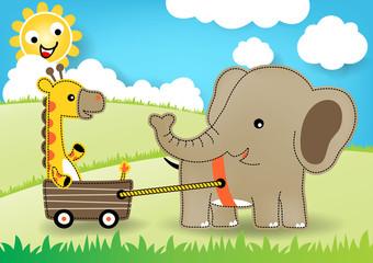 Nice Elephant and giraffe at summer, vector cartoon illustration